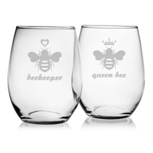 Queen Bee & Beekeeper - Set of Two Stemless Wine