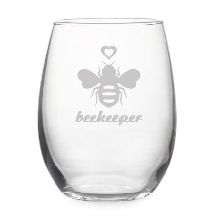 Queen Bee & Beekeeper - Set of Two Stemless Wine