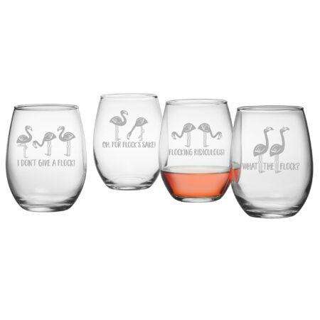 Flocking Ridiculous Assortment - Set of Four Stemless Wine