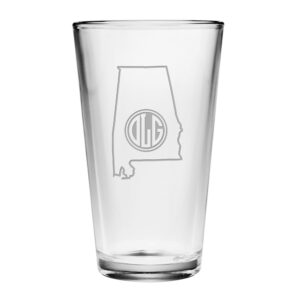 State and Circle Monogram Pint