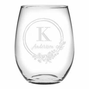 Initial & Last Name Circle Flower Stemless Wine