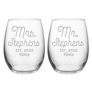Personalized Wedding Set Mr & Mrs