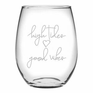 High Tides Good Vibes Stemless wine
