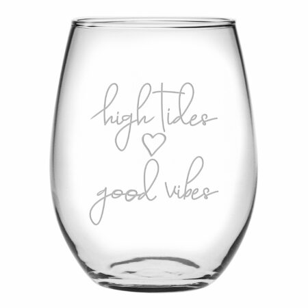 High Tides Good Vibes Stemless wine