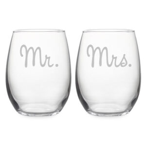 Mr and Mrs stemless wine