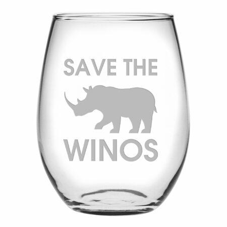Save the winos stemless wine
