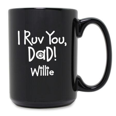 Personalized I Ruv You Dad Black Ceramic Mug