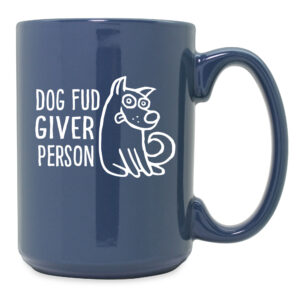 Dog Fud Giver Person Steel Blue Ceramic Mug