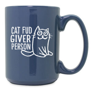 Cat Fud Giver Person Steel Blue Ceramic Mug