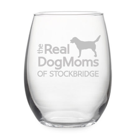Personalized Real Dog Moms of City Stemless Wine