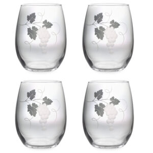 Grapevine Hand Cut Design on Stemless Wine Set of Four