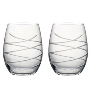 Hand Cut Swirl - Set of Two Stemless Wine