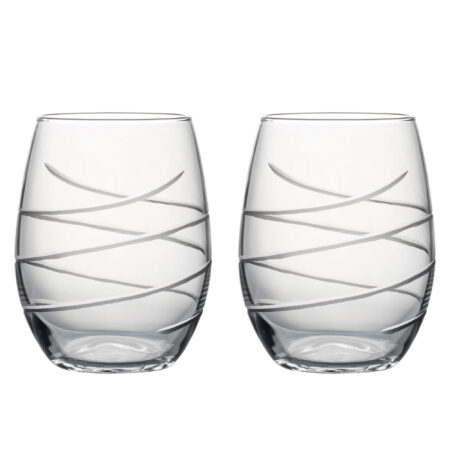 Hand Cut Swirl - Set of Two Stemless Wine