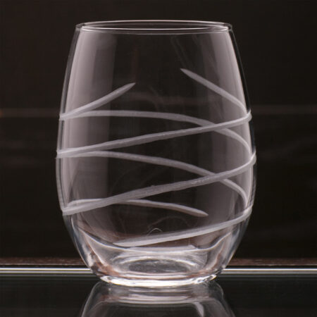 Hand Cut Swirl - Stemless Wine Black Background