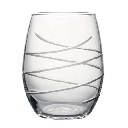 Hand Cut Swirl - Stemless Wine