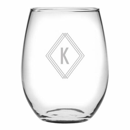 Monogram Deco Initial Stemless Wine