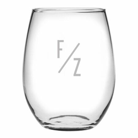 Slant Initials Stemless Wine