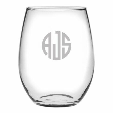 Monogram Circle 3 Initials Stemless Wine