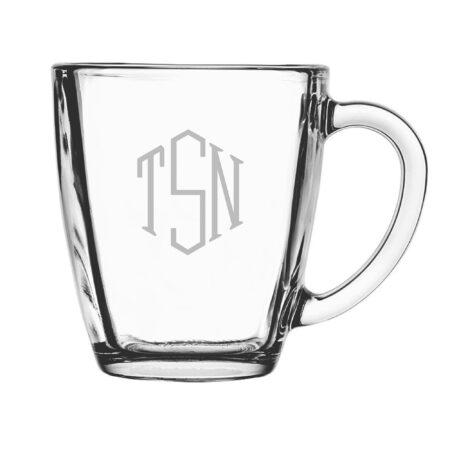 Classic Hand Cut Monogram Glass Mug