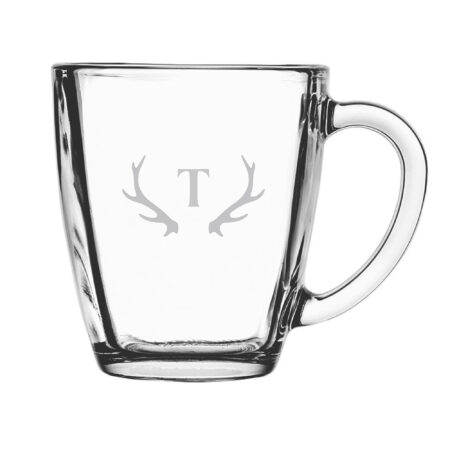 Initial with Antlers Glass Mug