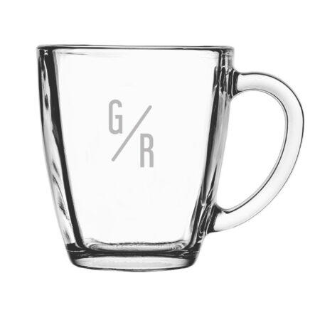 Slant Initials Glass Mug