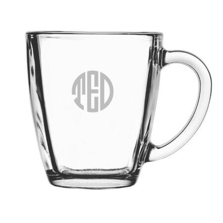 Monogram Circle 3 Initials Glass Mug