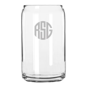 Monogram Circle 3 Initials Beer Can