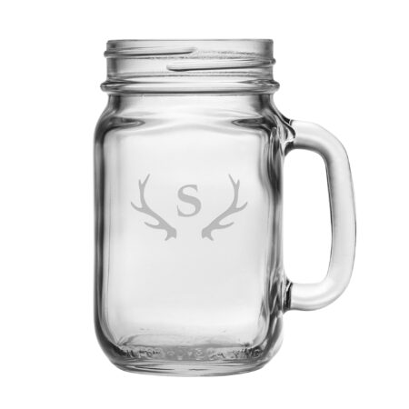Initial with Antlers Handled Jar Glass