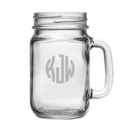 Monogram Circle 3 Initials Handled Jar Glass