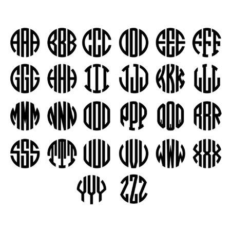 Three Letter Circle Monogram Alphabet