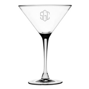 Martini Glasses with Classic Hand Cut Monogram Design