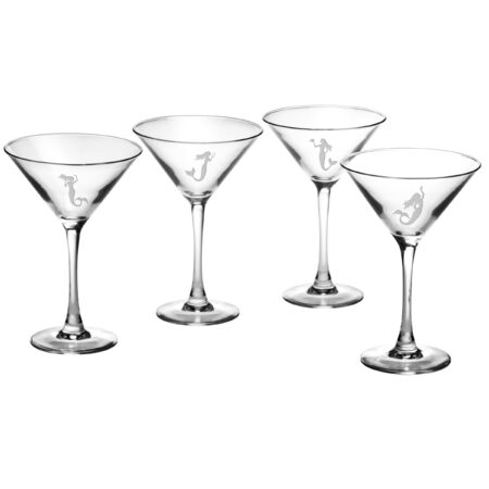 Set of Four Martini Glasses with Mermaid Design