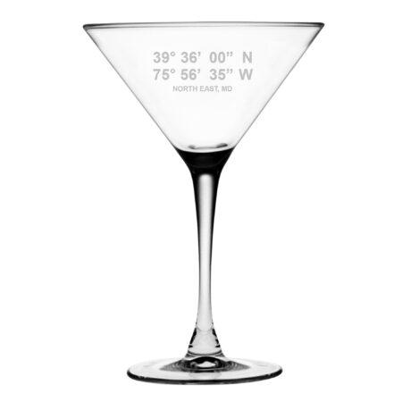 Martini Glass with latitude and longitude coordinates