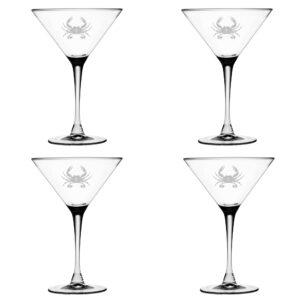 Set of Four Martini Glasses with Crab Design