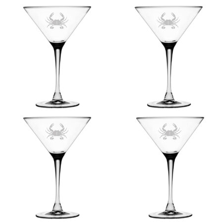 Set of Four Martini Glasses with Crab Design