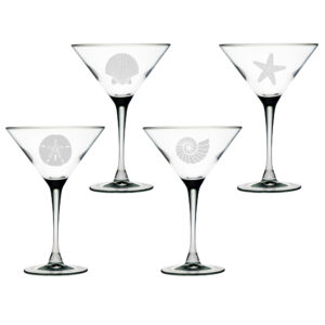 Set of Four Martini Glasses with Seashore Design