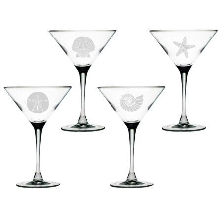 Set of Four Martini Glasses with Seashore Design