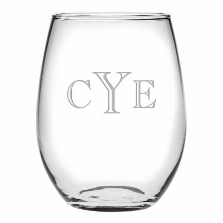 Engraver Triple Letter Monogram Stemless Wine