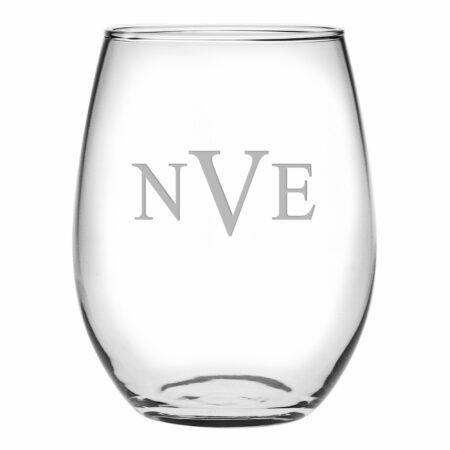 Block Triple Letter Monogram Stemless Wine