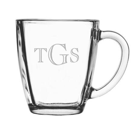 Engraver Triple Letter Monogram Glass Mug