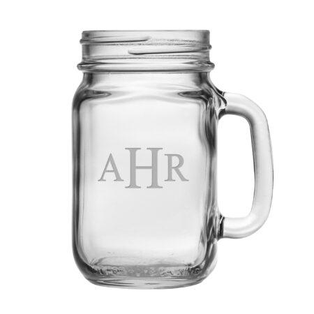 Block Triple Letter Monogram Handled Jar Glass