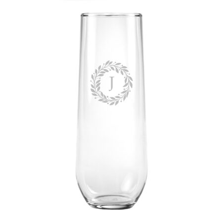 Wreath Initial Stemless Flute