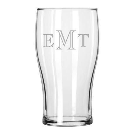 Engraver Triple Letter Monogram Pub Glass