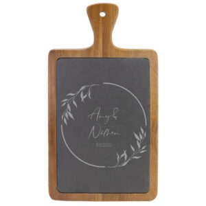 Personalized Names and Date on Wooden and Slate Cheese Board
