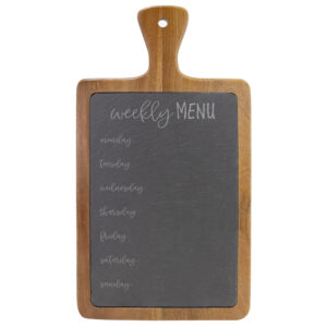 Weekly Menu on Wooded and Slate Cheese Board
