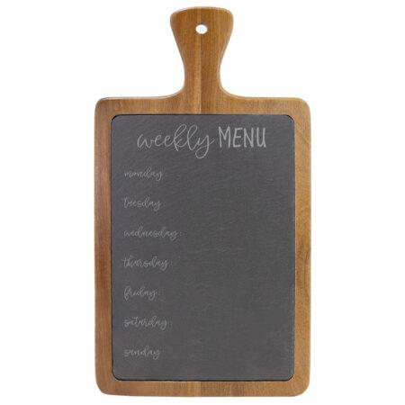 Weekly Menu on Wooded and Slate Cheese Board