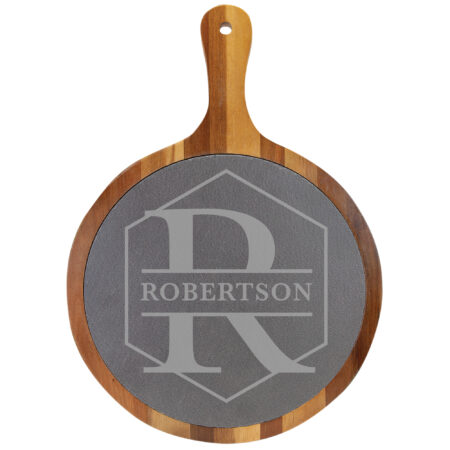 Initial and Last name on Wooded and Slate Cheese Board