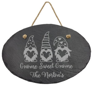 Gnome Sweet Gnome on Slate Oval Sign