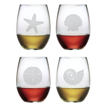 Stemless Wine Glass with Seashore Design