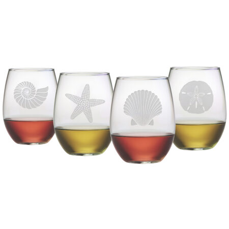 Stemless Wine Glass with Seashore Design Set of four